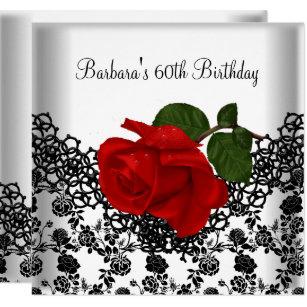 Black white 60th birthday invitations announcements zazzle 60th birthday damask lace black white red rose invitation filmwisefo