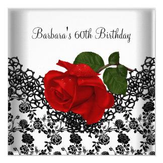60th Birthday Damask Lace Black White RED Rose Invitation