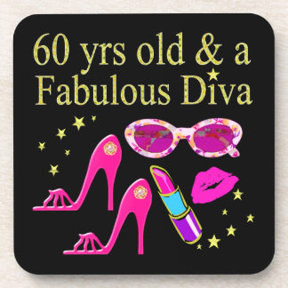 60TH BIRTHDAY DAZZLING DIVA DESIGN DRINK COASTER