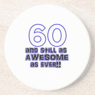 60th birthday design drink coaster