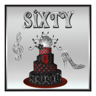 60th Birthday Disco Diva Cake Sparkle High Heels Card