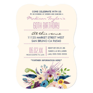60th Birthday Elegant Bouquet Card