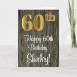 [ Thumbnail: 60th Birthday: Elegant Faux Gold Look #, Faux Wood Card ]