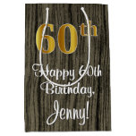 [ Thumbnail: 60th Birthday: Elegant Faux Gold Look #, Faux Wood Gift Bag ]
