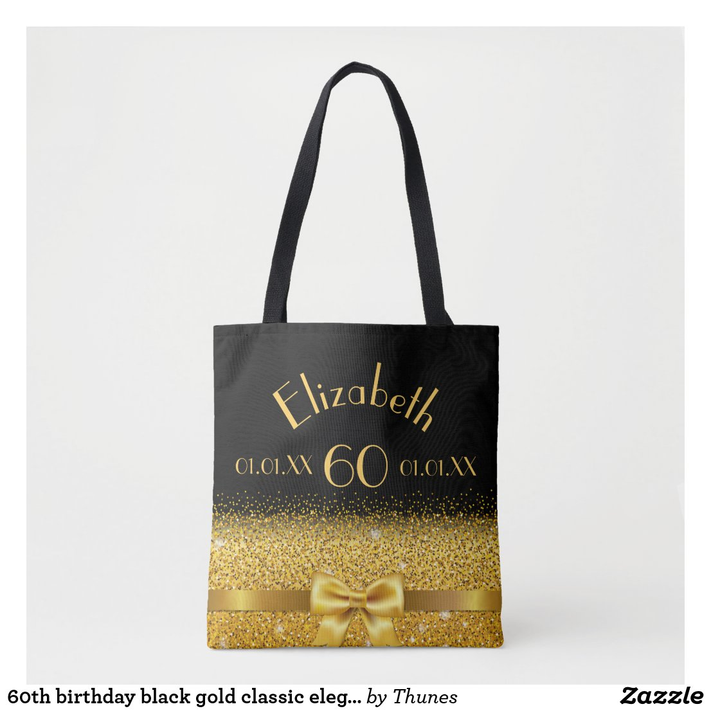 60th birthday elegant gold bow with sparkle black