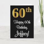 [ Thumbnail: 60th Birthday ~ Elegant Luxurious Faux Gold Look # Card ]