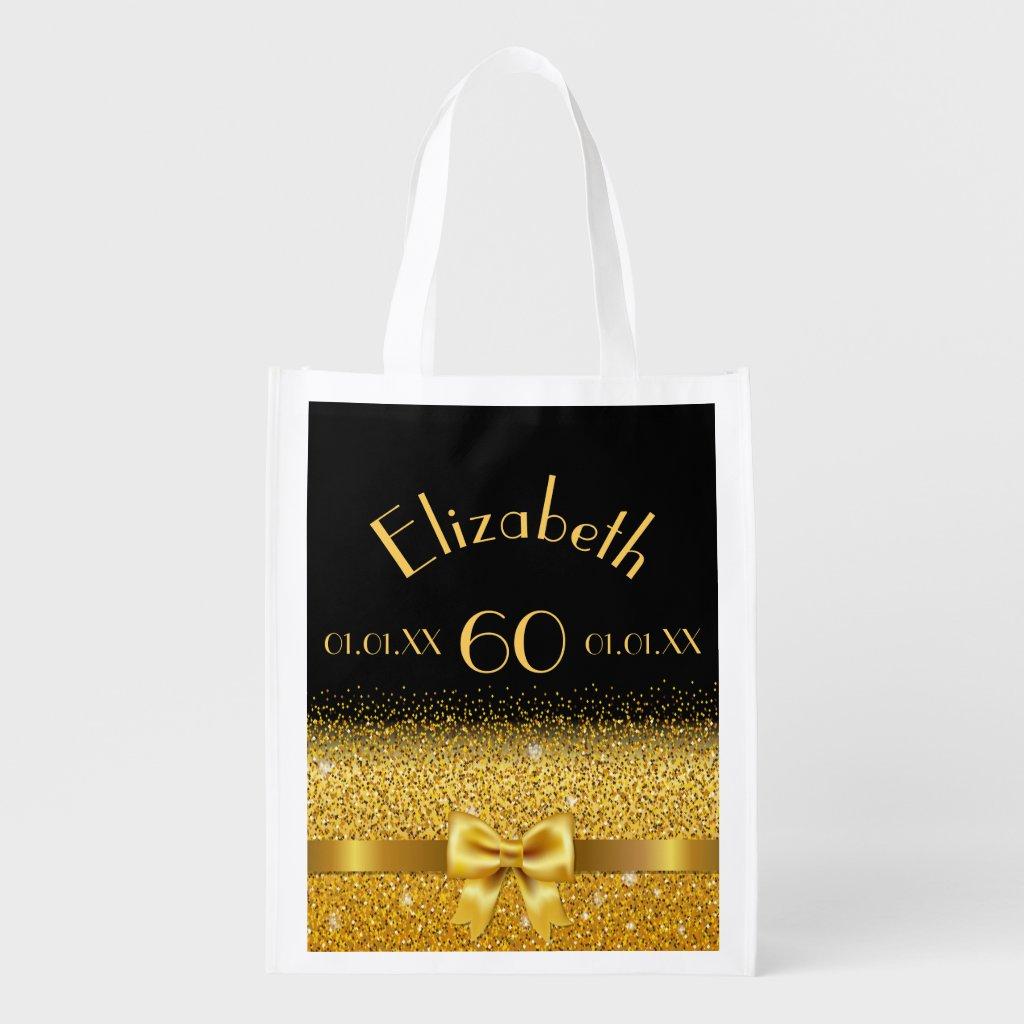 60th birthday elegant shining gold bow on black reusable grocery bag