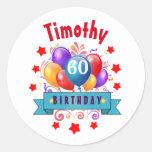 60th Birthday Festive Colorful Balloons C01EZ Classic Round Sticker