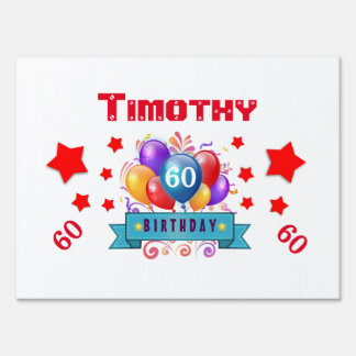 60th Birthday Festive Colorful Balloons C01EZ Signs