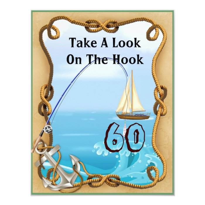 60th Birthday Fishing Invitations for MEN