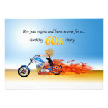 60th birthday Flaming motorcycle party invitation