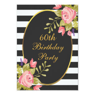 Black white 60th birthday invitations announcements zazzle 60th birthday floral black white stripes gold foil card filmwisefo Image collections