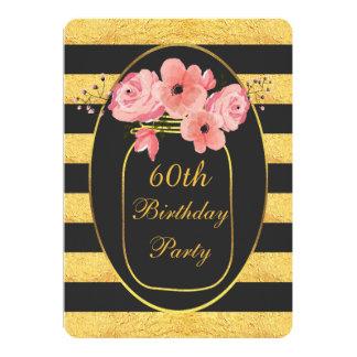 60th Birthday Floral Mason Jar Gold Stripes Card