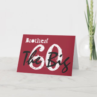60th Birthday for dad, black, white text on red. Card