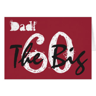 60th Birthday for dad, black, white text on red. Cards