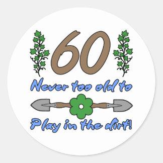 60th Birthday For Gardeners Classic Round Sticker
