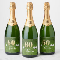 60th Birthday for golfer with golf ball and 60 Champagne Label