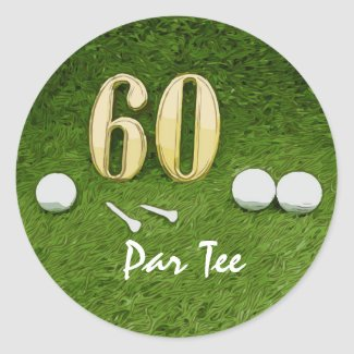 60th Birthday for golfer with golf ball and 60 Classic Round Sticker