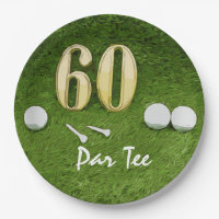 60th Birthday for golfer with golf ball and 60 Paper Plate