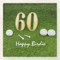 60th Birthday for golfer with golf happy birdie Glass Coaster