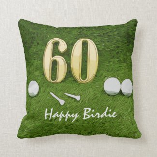 60th Birthday for golfer with golf happy birdie Throw Pillow