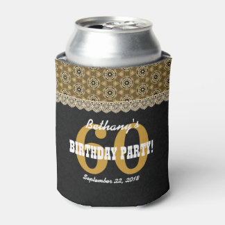 60th Birthday For Her A18 Black and Gold Can Cooler