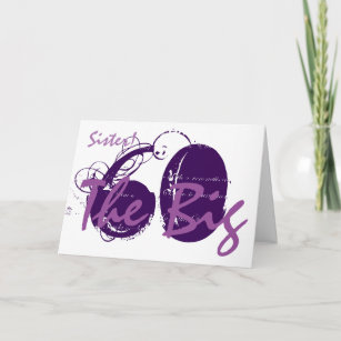 60th Birthday For Sister Purple Text On White Card