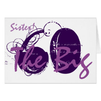 60th Birthday for sister, purple text on white. Card