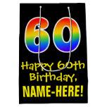 "[ Thumbnail: 60th Birthday: Fun, Bold, Colorful, Rainbow ""60"" Gift Bag ]"