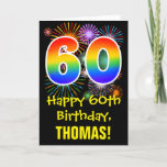 [ Thumbnail: 60th Birthday: Fun Fireworks Pattern + Rainbow 60 Card ]