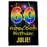 [ Thumbnail: 60th Birthday: Fun Fireworks Pattern + Rainbow 60 Gift Bag ]