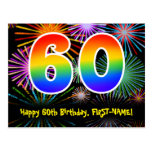 [ Thumbnail: 60th Birthday – Fun Fireworks Pattern + Rainbow 60 Postcard ]