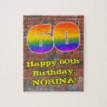 [ Thumbnail: 60th Birthday: Fun Graffiti-Inspired Rainbow 60 Jigsaw Puzzle ]