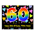 [ Thumbnail: 60th Birthday: Fun Hearts Pattern, Rainbow 60 Postcard ]