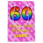 [ Thumbnail: 60th Birthday: Fun Pink Hearts Stripes; Rainbow 60 Gift Bag ]
