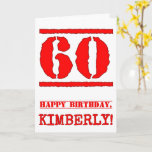 [ Thumbnail: 60th Birthday: Fun, Red Rubber Stamp Inspired Look Card ]
