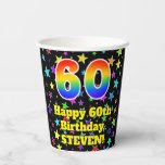 [ Thumbnail: 60th Birthday: Fun Stars Pattern and Rainbow 60 ]