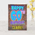 [ Thumbnail: 60th Birthday - Fun, Urban Graffiti Inspired Look Card ]