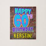 [ Thumbnail: 60th Birthday ~ Fun, Urban Graffiti Inspired Look Jigsaw Puzzle ]