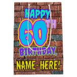 [ Thumbnail: 60th Birthday: Fun, Urban Graffiti Inspired Look Gift Bag ]