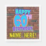[ Thumbnail: 60th Birthday ~ Fun, Urban Graffiti Inspired Look Napkins ]