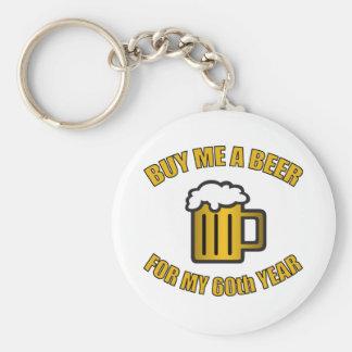 60th Birthday Funny Beer Basic Round Button Keychain