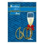 60th Birthday - Geometric Birthday Card Champagne