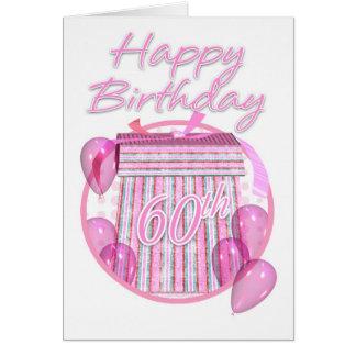 60th Birthday Gift Box - Pink - Happy Birthday Card