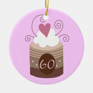 60th Birthday Gift Ideas For Her Double-Sided Ceramic Round Christmas Ornament