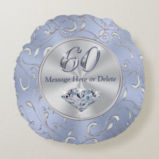 60th Birthday Gifts for Her, 60th Anniversary Gift Round Pillow