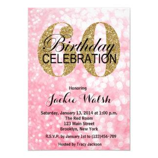 60th Birthday Glitter Lights Party Invitation
