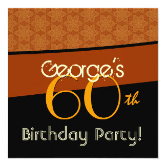 60th Birthday Gold Orange Black Pattern Card