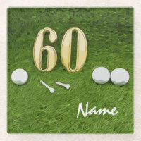 60th Birthday Golf ball and tee for Golfer Glass Coaster