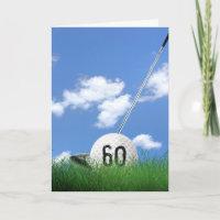 60th birthday golf ball in grass card